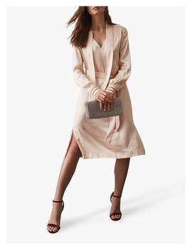Reiss Ray Satin Longline Dress, Neutral by Reiss