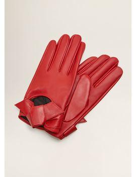 Leren Handschoenen Met Strik by Mango