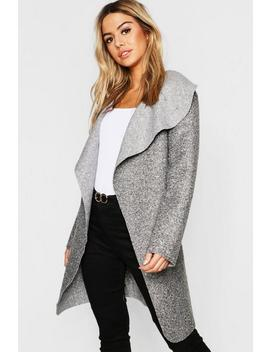 Petite Belted Shawl Collar Teddy Coat by Boohoo
