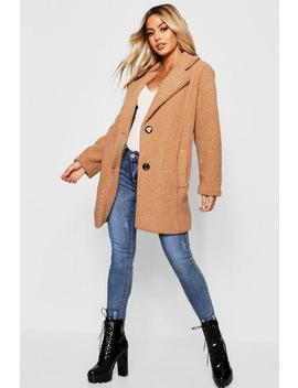 Petite Button Through Teddy Coat by Boohoo