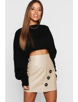 Petite Mock Horn Button Faux Leather Mini Skirt by Boohoo