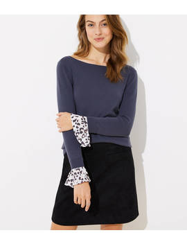 Spotted Flounce Cuff Sweater by Loft