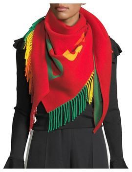 Rainbow Logo Scarf W/ Fringe Trim by Neiman Marcus