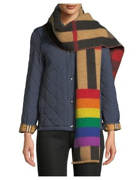 Rainbow Reversible Mega Check Cashmere Scarf by Burberry