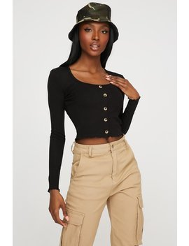Scoop Neck Button Long Sleeve Cropped Top by Urban Planet