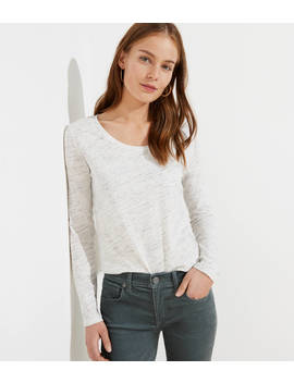 Petite Melange Long Sleeve Shirttail Tee by Loft