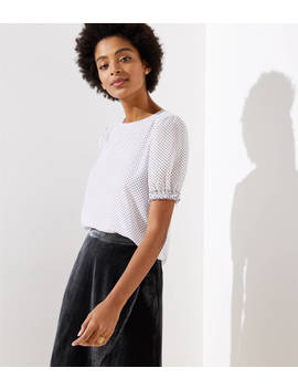 Petite Dotted Puff Sleeve Top by Loft