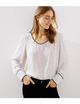 Petite Dotted Piped Scoop Neck Blouse by Loft