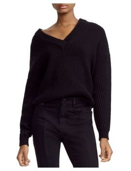 Master Ribbed Knit V Neck Sweater by Maje