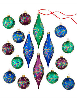 Set Of 16 Shatterproof Peacock Feather Ball & Drop Ornaments, Created For Macy's by Holiday Lane