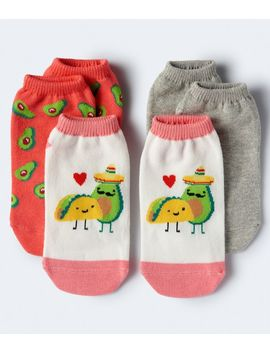 3 Pack Food Friends, Solid &Amp; Avocado Socks by Aeropostale