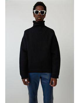 Gerippter Sweater In Kastiger Passform Schwarz by Acne Studios