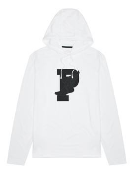 White Logo Print Hooded Jersey Top by Polo Ralph Lauren