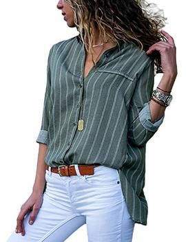 Womens Casual V Neck Striped Chiffon Blouses Long Sleeve Button Down Shirts Tops Front Pockets by Silindashop