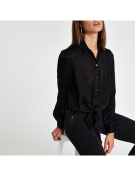 Black Tie Front Loose Shirt by River Island