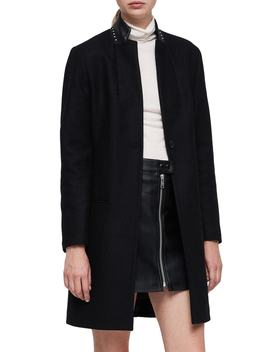 Leni Stud Trim Leather Collar Coat by Allsaints