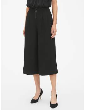 High Rise Wide Leg Crop Pants With O Ring Zip by Gap