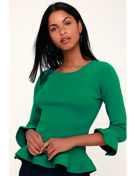 Donatella Green Ribbed Knit Flounce Sleeve Peplum Top by Lulus