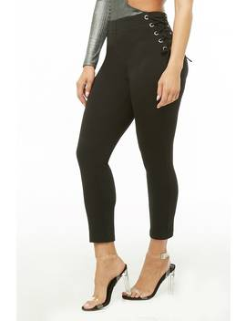 Lace Up Ponte Leggings by Forever 21