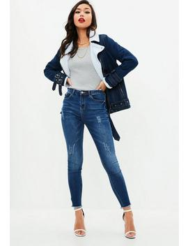 Blue Sinner High Waisted Clean Jeans by Missguided