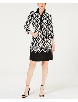 Roulette Print Pleated Dress by Anne Klein