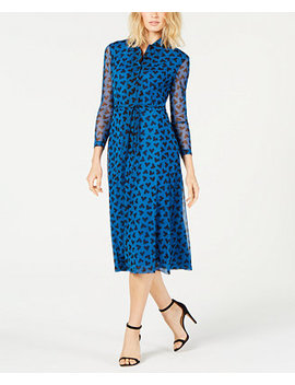 Printed Button Front Dress by Anne Klein