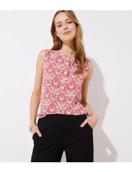 Petite Floral Mosaic Refined Henley Shell by Loft