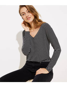 Striped Long Sleeve V Neck Shirttail Tee by Loft