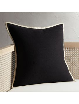 "20"" Delaney Black Linen Pillow by Crate&Barrel"