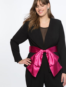 Peplum Blazer With Satin Bow by Eloquii