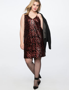 Sequin Leopard Slip Dress by Eloquii
