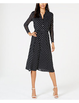 Dot Print Belted Shirtdress by Anne Klein
