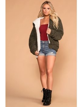 Snuggle Up Olive Bomber Jacket by Priceless