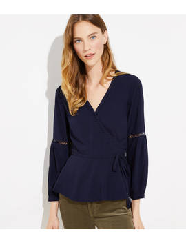 Petite Lattice Wrap Blouse by Loft