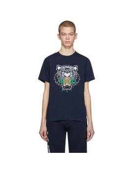 Navy Tiger Logo T Shirt by Kenzo
