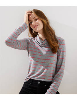 Petite Striped Cowl Neck Tunic by Loft