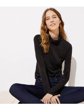 Petite Shimmer Stripe Shirttail Turtleneck by Loft