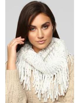 All Bundled Up Fringe Scarf   White by Fashion Nova