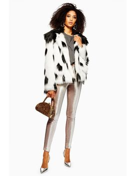 Dalmation Print Faux Fur Coat by Topshop