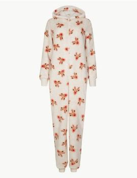 Fleece Reindeer Print Onesie by Marks & Spencer