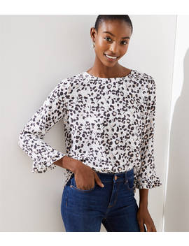 Petite Spotted Double Ruffle Cuff Blouse by Loft