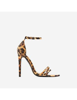 Fern Barley There Strappy Toe Post Heel In Tan Leopard Patent by Ego