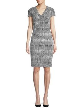 Plaid Jacquard Sheath Dress by Michael Michael Kors