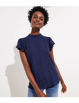 Petite Floral Embroidered Mock Neck Top by Loft