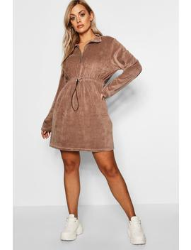 Plus Velour Draw Cord Sweat Dress by Boohoo