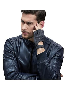 Gsg Winter Gloves Men Touchscreen Driving Leather Gloves Motorcycle Punk Black Gloves Full Finger/Half Gloves by Gsg