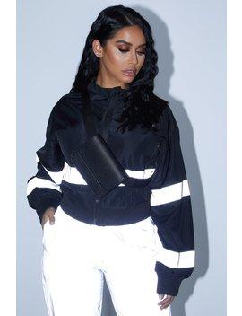 Black Reflective Striped Jacket by Sorella
