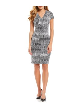 Plaid Knit Jacquard V Neck Cap Sleeve Bodycon Sheath Dress by Michael Michael Kors