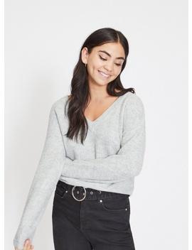 Petite Grey Pearl Detail Knitted Jumper by Miss Selfridge