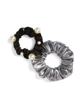 2 Pack Velvet & Imitation Pearl Scrunchies by Cara